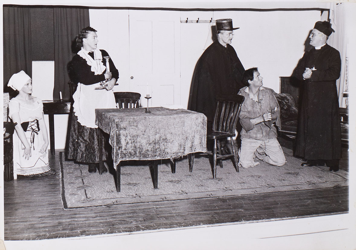 Photograph of a scene from the play 'Bishop's Candlesticks' presented by Bishopsteignton Players