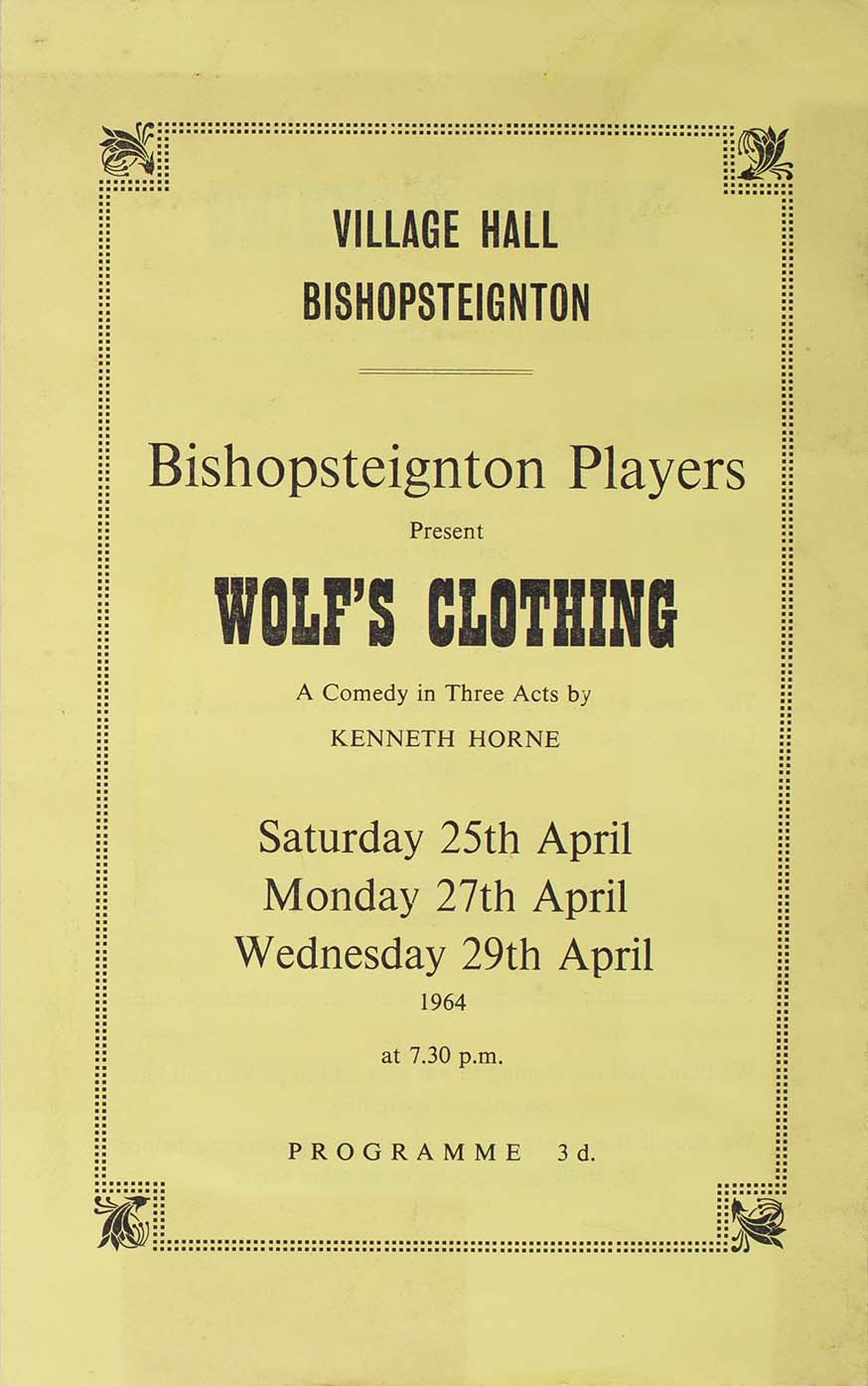Leaflet to advertise the programme for the play 'Wolf's Clothing' presented by the Bishopsteignton Players front