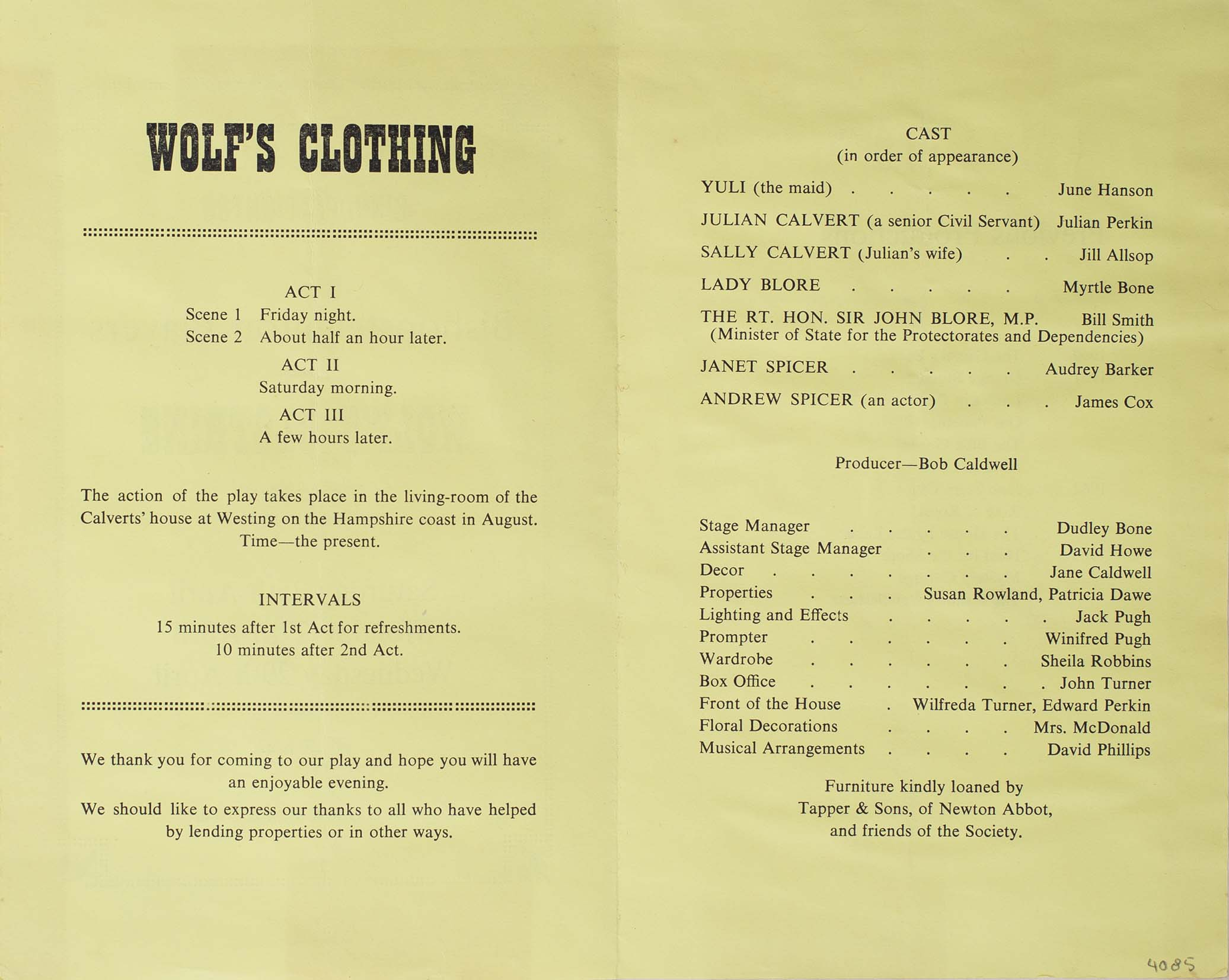 Leaflet to advertise the programme for the play 'Wolf's Clothing' presented by the Bishopsteignton Players inside