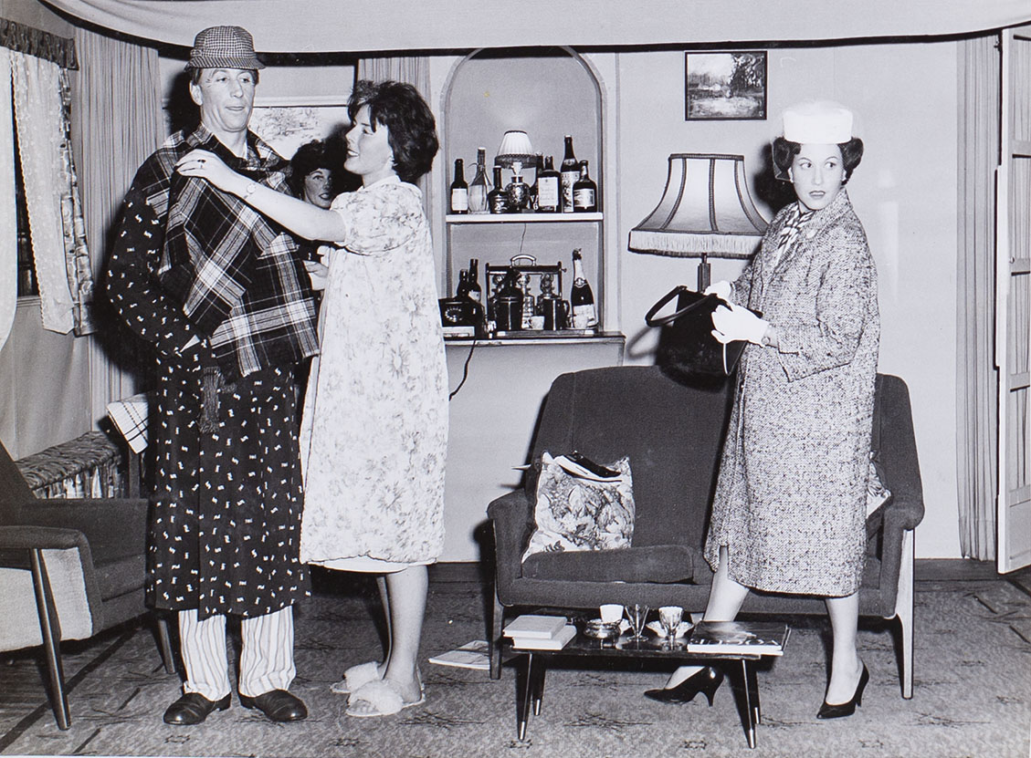 Photograph of the cast in a scene from the play 'Wolf's Clothing' presented by Bishopsteignton Players 1964