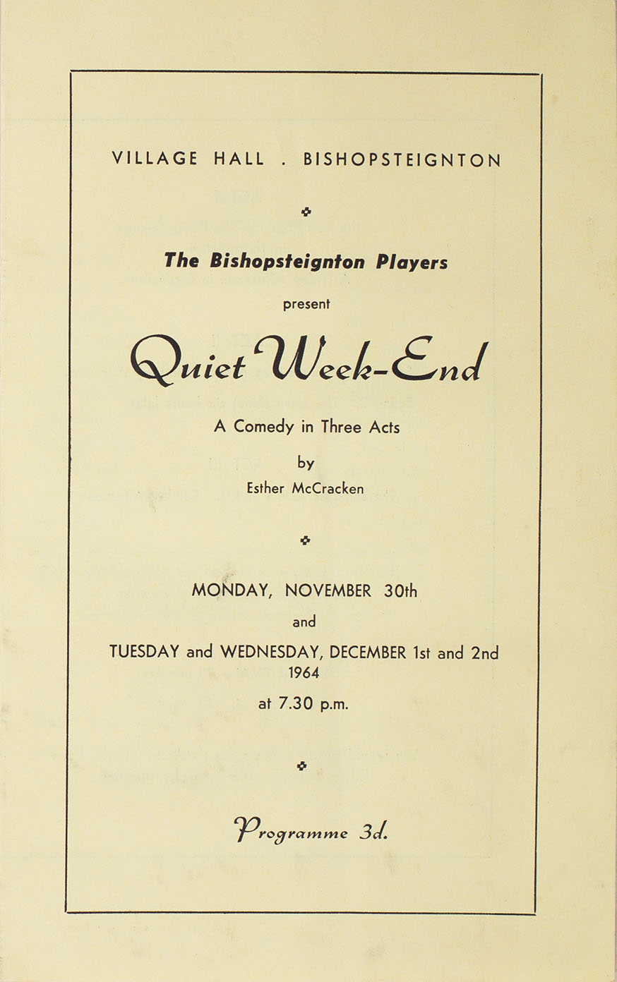 Leaflet to advertise the programme for the play 'Quiet Week-End' presented by Bishopsteignton Players front
