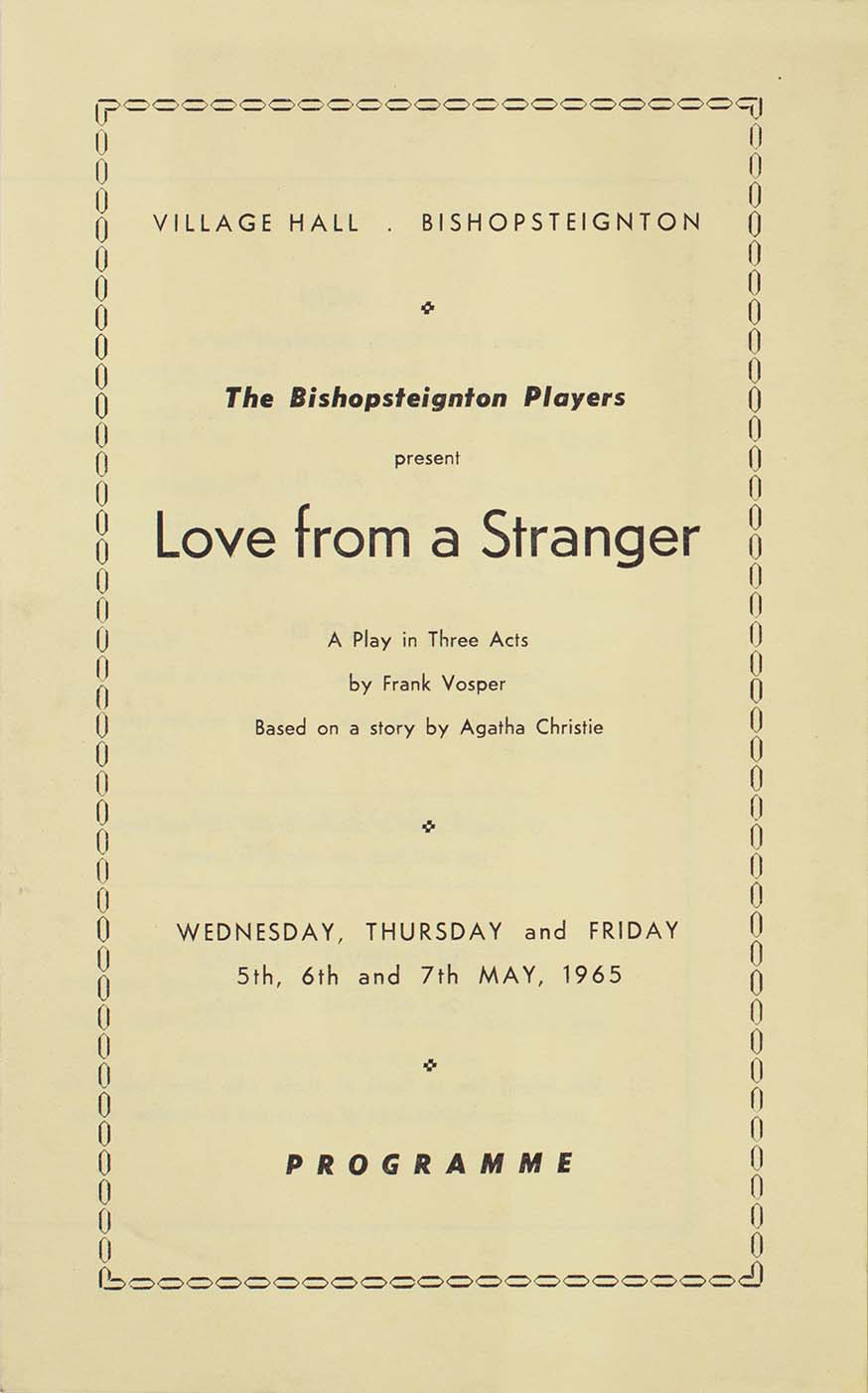 Programme for the play 'Love from a Stranger' presented by the Bishopsteignton Players front