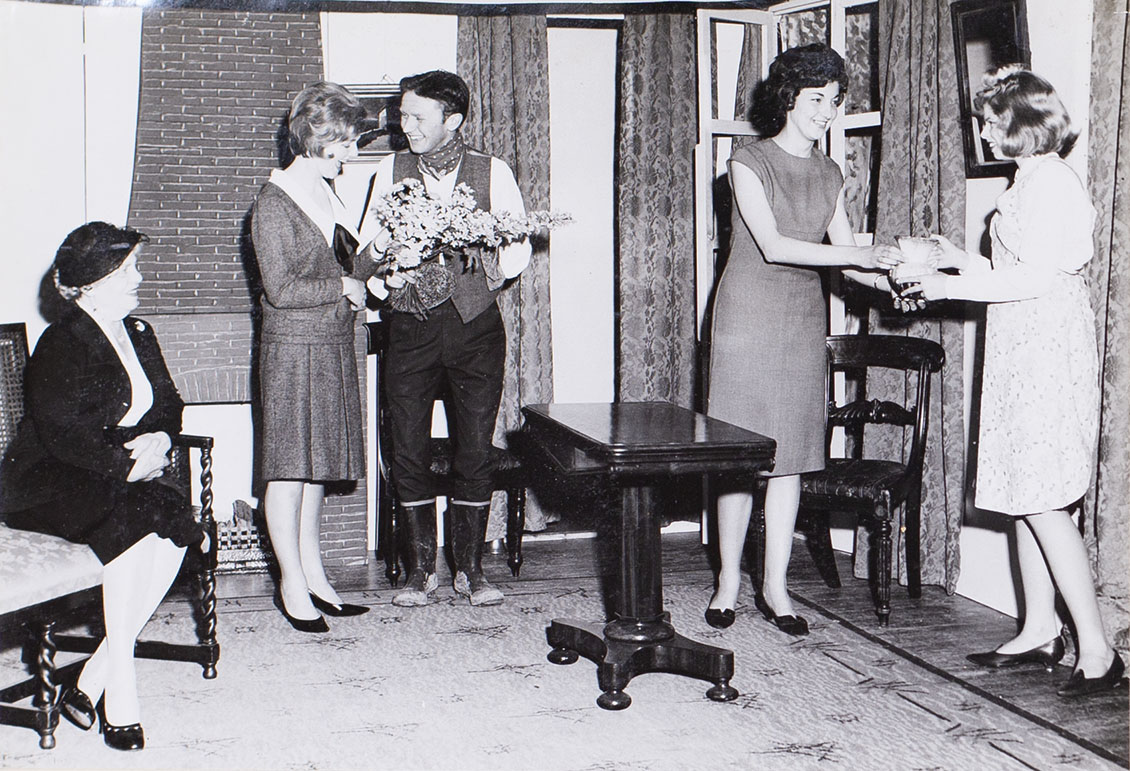 Photograph of the cast in a scene from the play 'Love from a Stranger' presented by Bishopsteignton Players