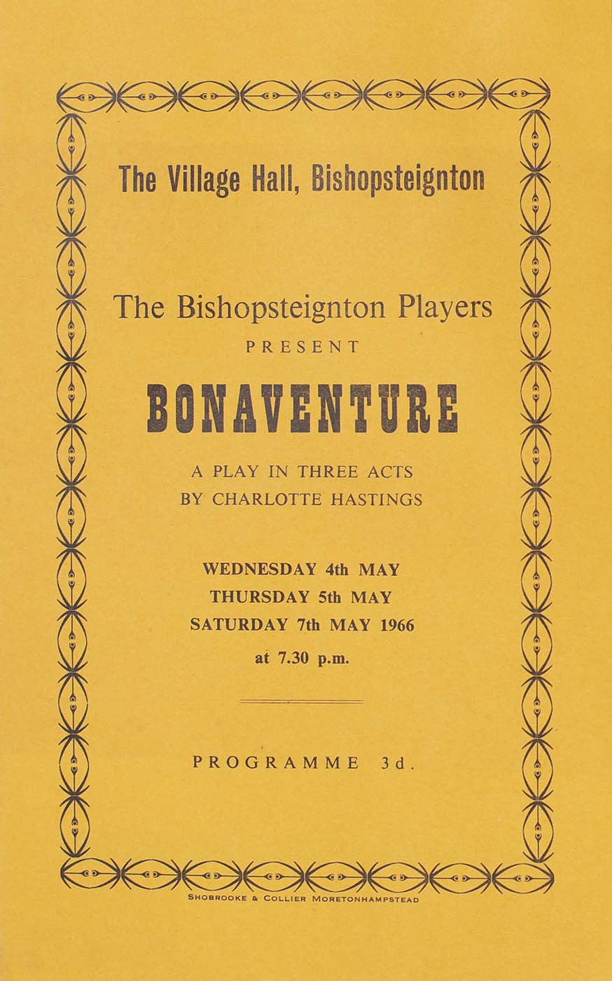 Programme for the play 'Bonaventure' presented by Bishopsteignton Players front