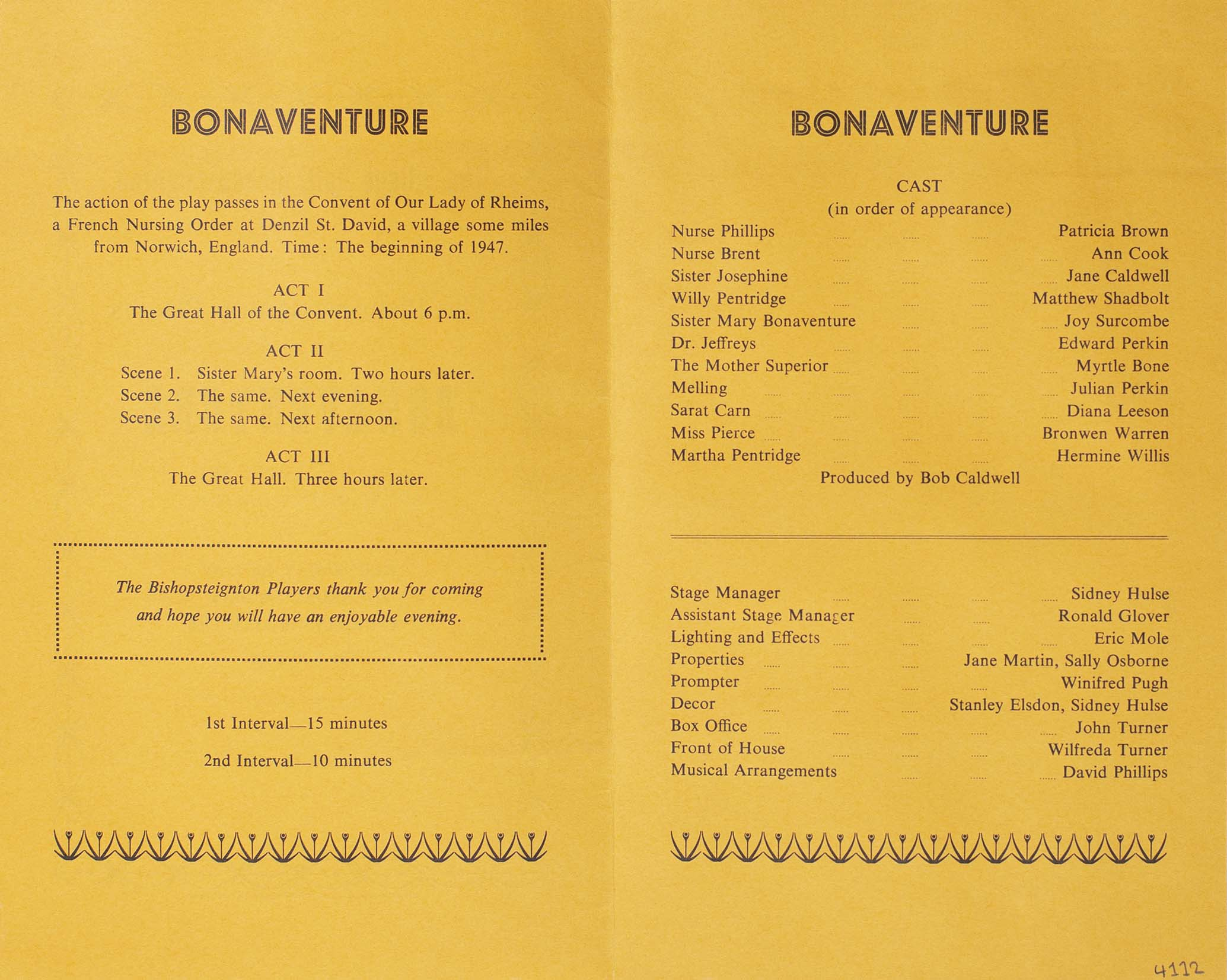 Programme for the play 'Bonaventure' presented by Bishopsteignton Players inside