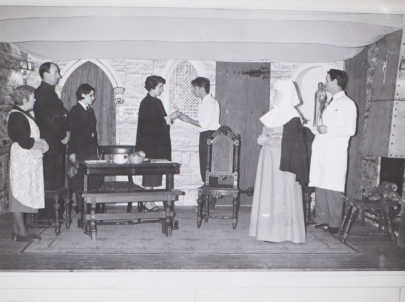 Photograph of the cast in a scene from the play 'Bonaventure' presented by Bishopsteignton Players