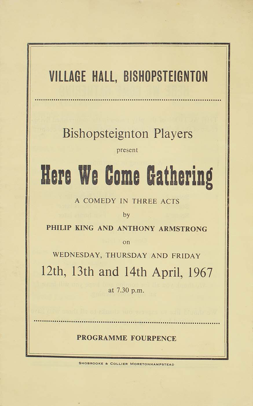 Leaflet to advertise the programme for the play 'Here We Come Gathering' presented by the Bishopsteignton Players front