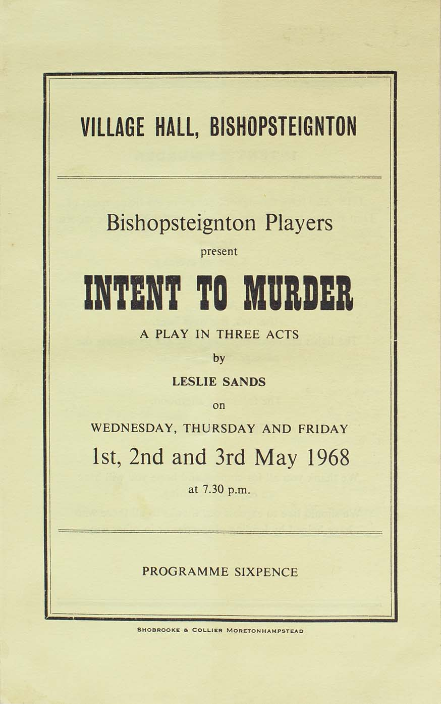 Programme for the play 'Intent to Murder' presented by Bishopsteignton Players front