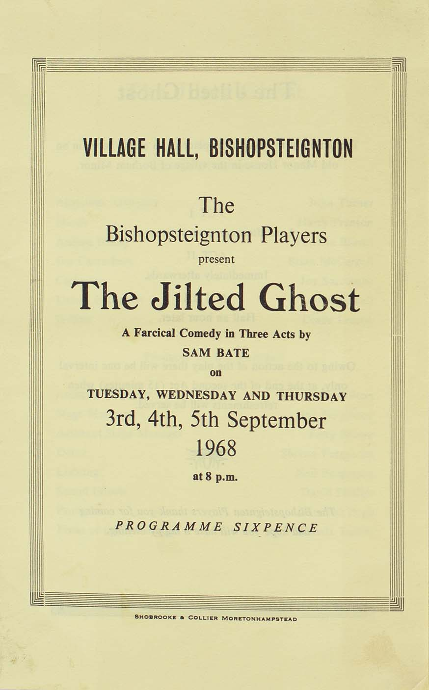 Programme for the play 'The Jilted Ghost' presented by Bishopsteignton Players front