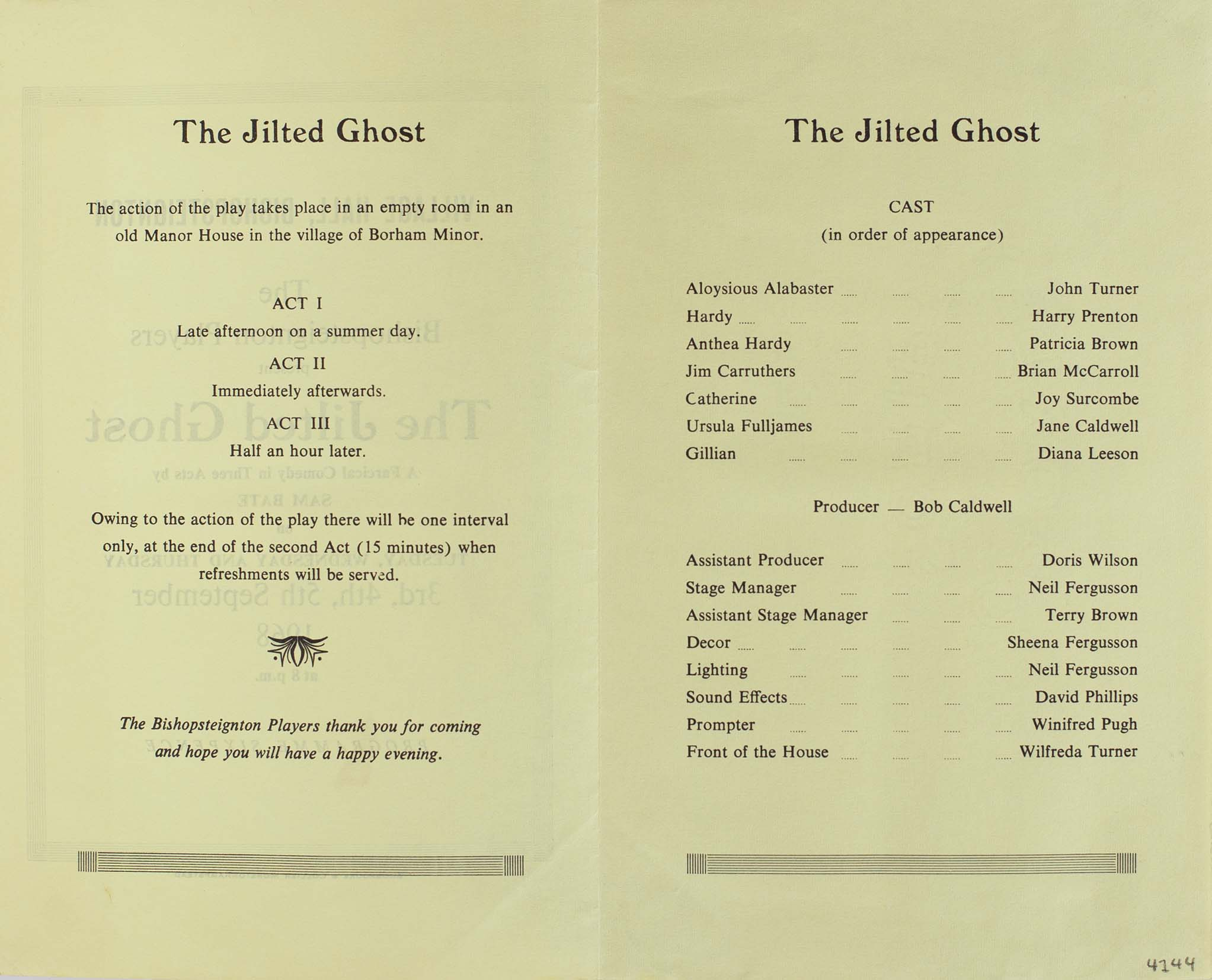 Programme for the play 'The Jilted Ghost' presented by Bishopsteignton Players inside