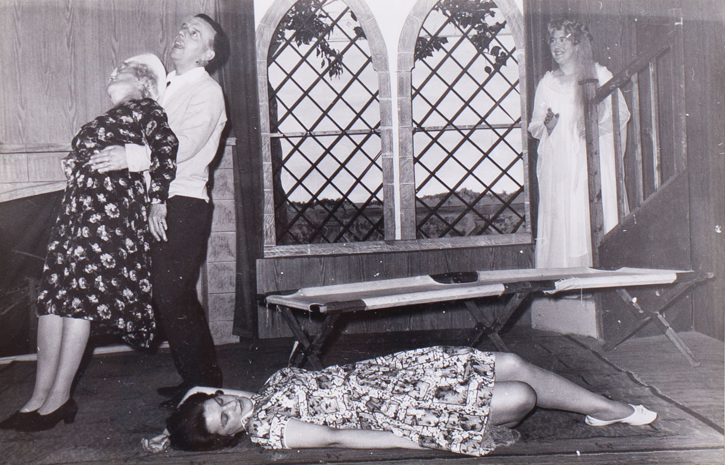 Photograph of the cast in a scene from the play 'The Jilted Ghost' presented by Bishopsteignton Players