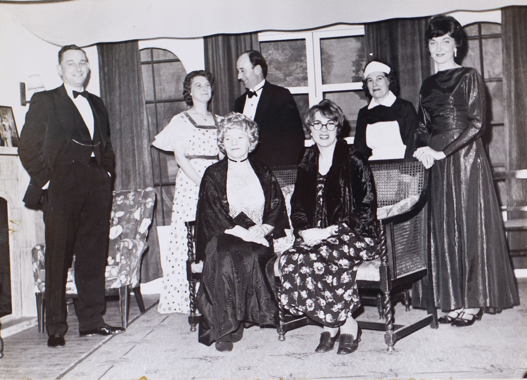 Photograph showing the cast in a scene from the play 'The Haxtons' performed by Bishopsteignton Players