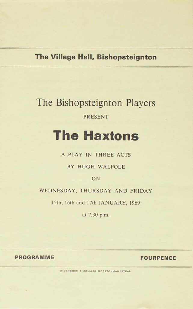 Programme for the play 'The Haxtons' presented by the Bishopsteignton Players front