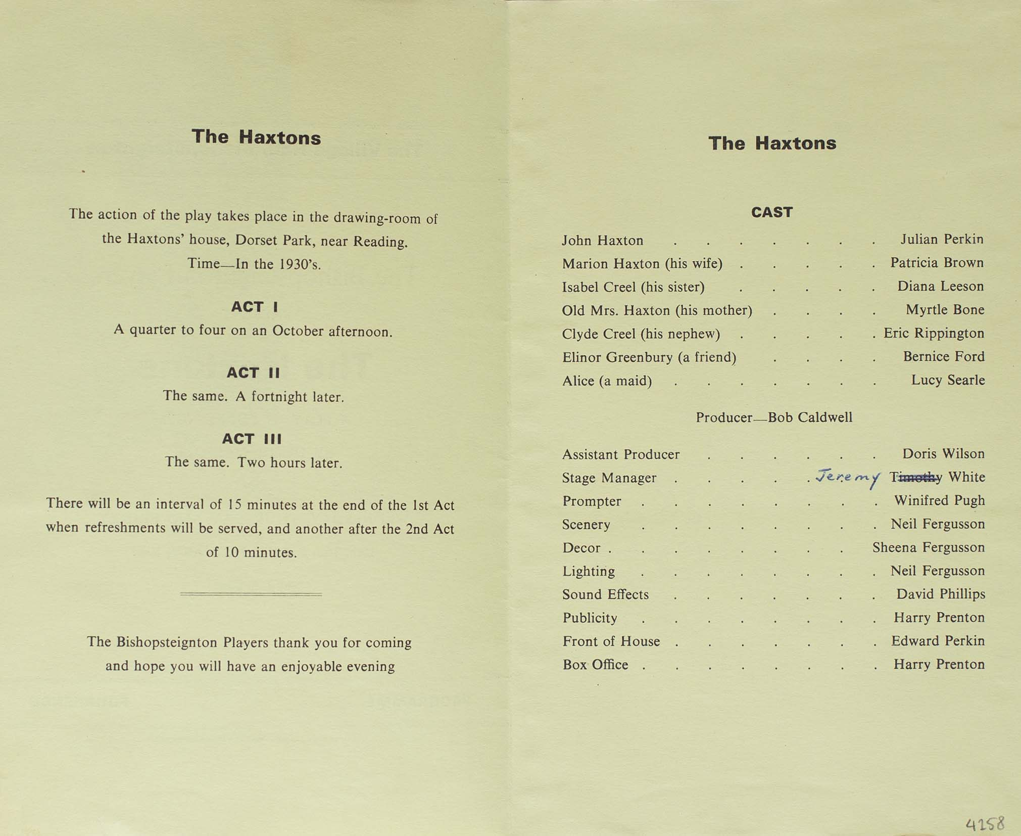 Programme for the play 'The Haxtons' presented by the Bishopsteignton Players inside