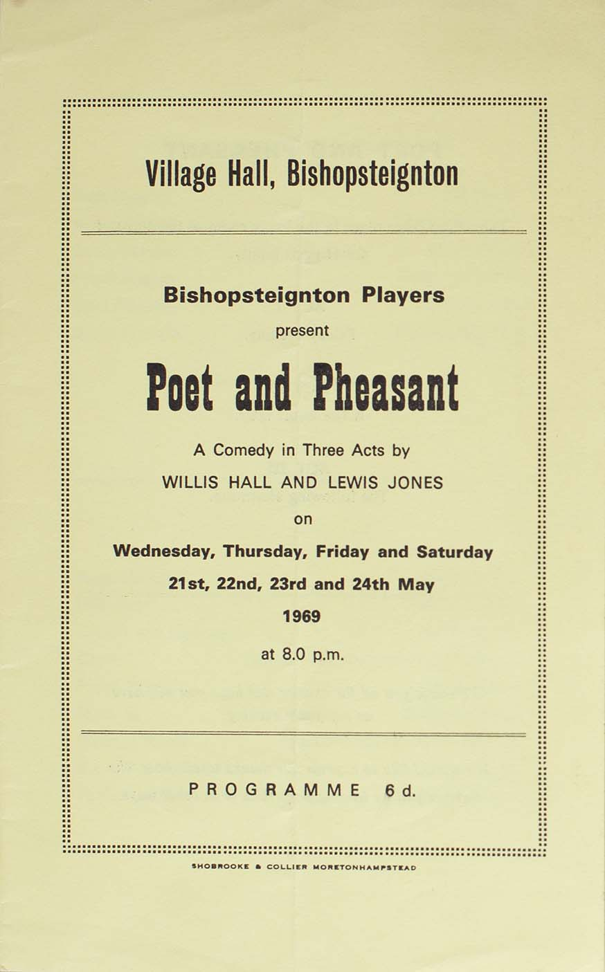 Programme for the play 'Poet and Pheasant' presented by the Bishopsteignton Players front