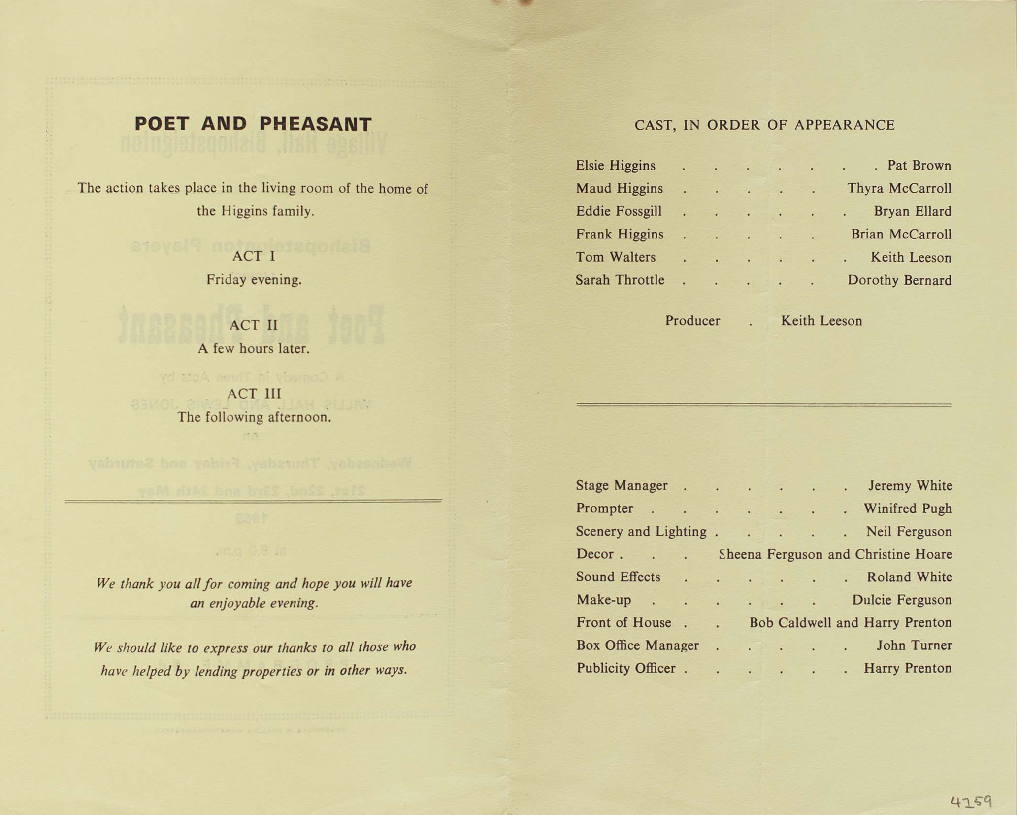 Programme for the play 'Poet and Pheasant' presented by the Bishopsteignton Players inside