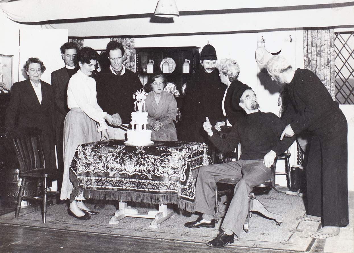 Photograph of actors in a scene from the play 'Haul For The Shore' performed by the Bishopsteignton Players in the 1960s