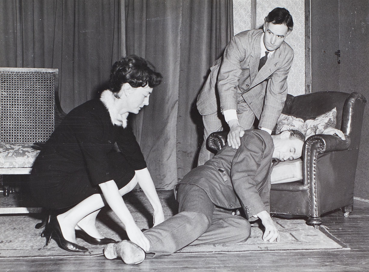 Photograph of actors in a scene from the play 'House by the Lake' performed by the Bishopsteignton Players in the 1960s