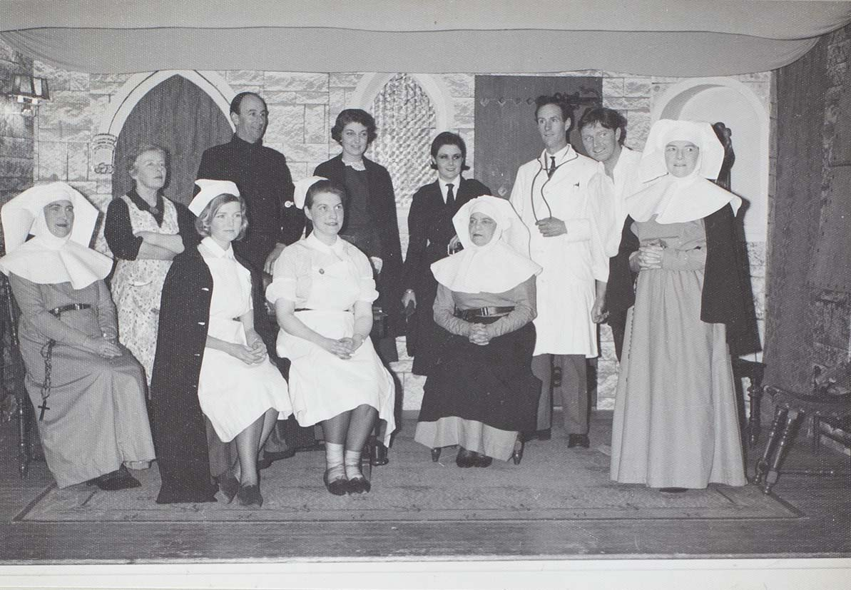 Photograph of actors in a scene from the play 'Bonaventure' performed by the Bishopsteignton Players in the 1960s