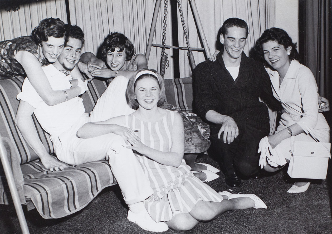 Photograph of actors in a scene from the play 'Ring O'Roses' performed by the Bishopsteignton Players in the 1960s