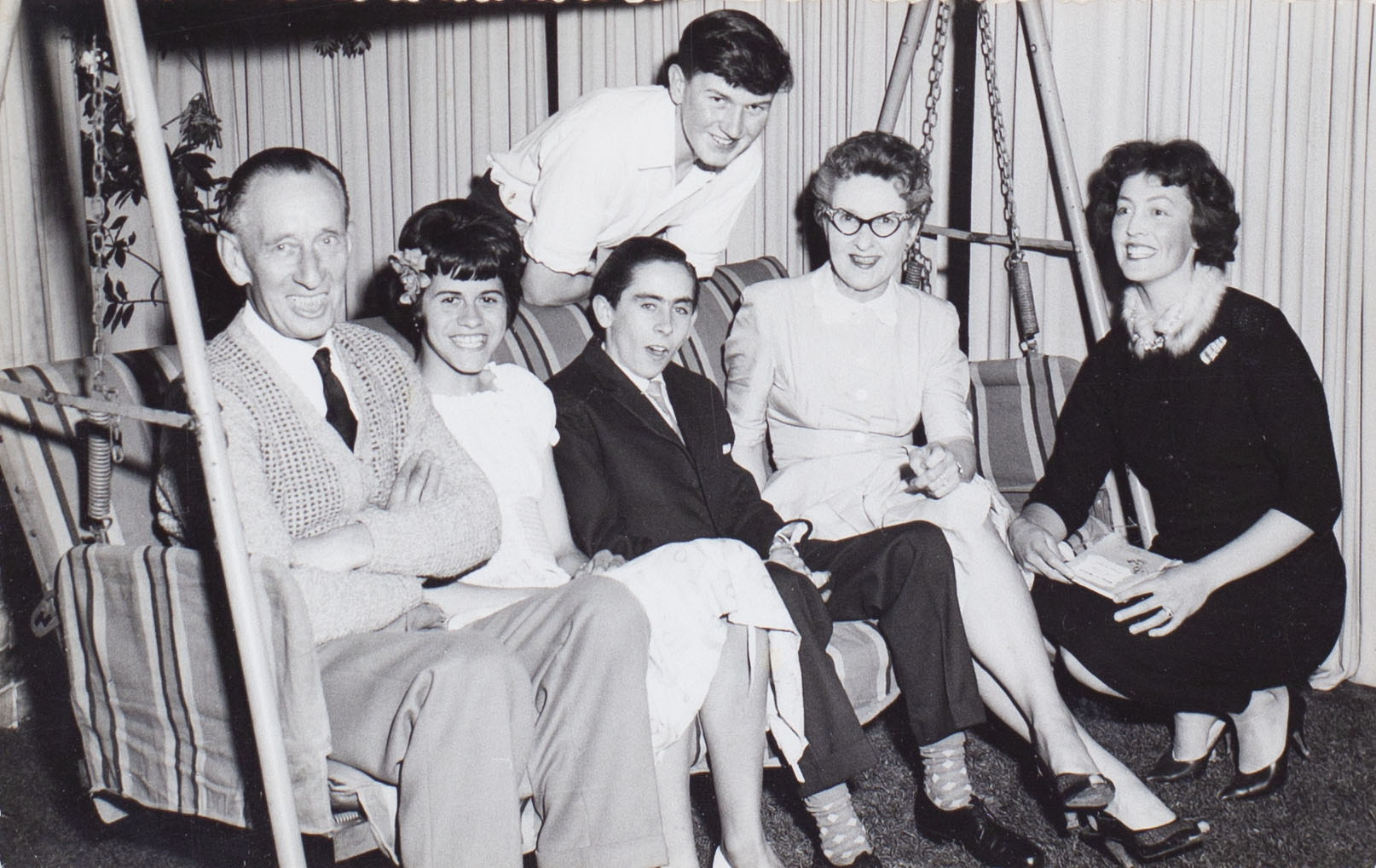 Photograph of backstage crew of the play 'Ring O'Roses' performed by the Bishopsteignton Players in the 1960s