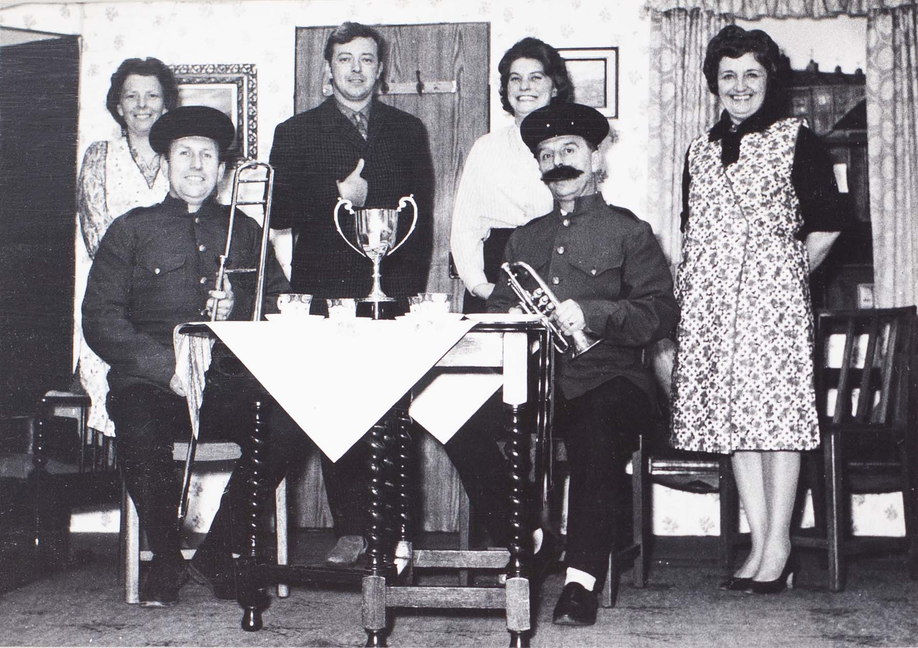 Photograph of actors in an unknown play performed by the Bishopsteignton Players in the 1960s