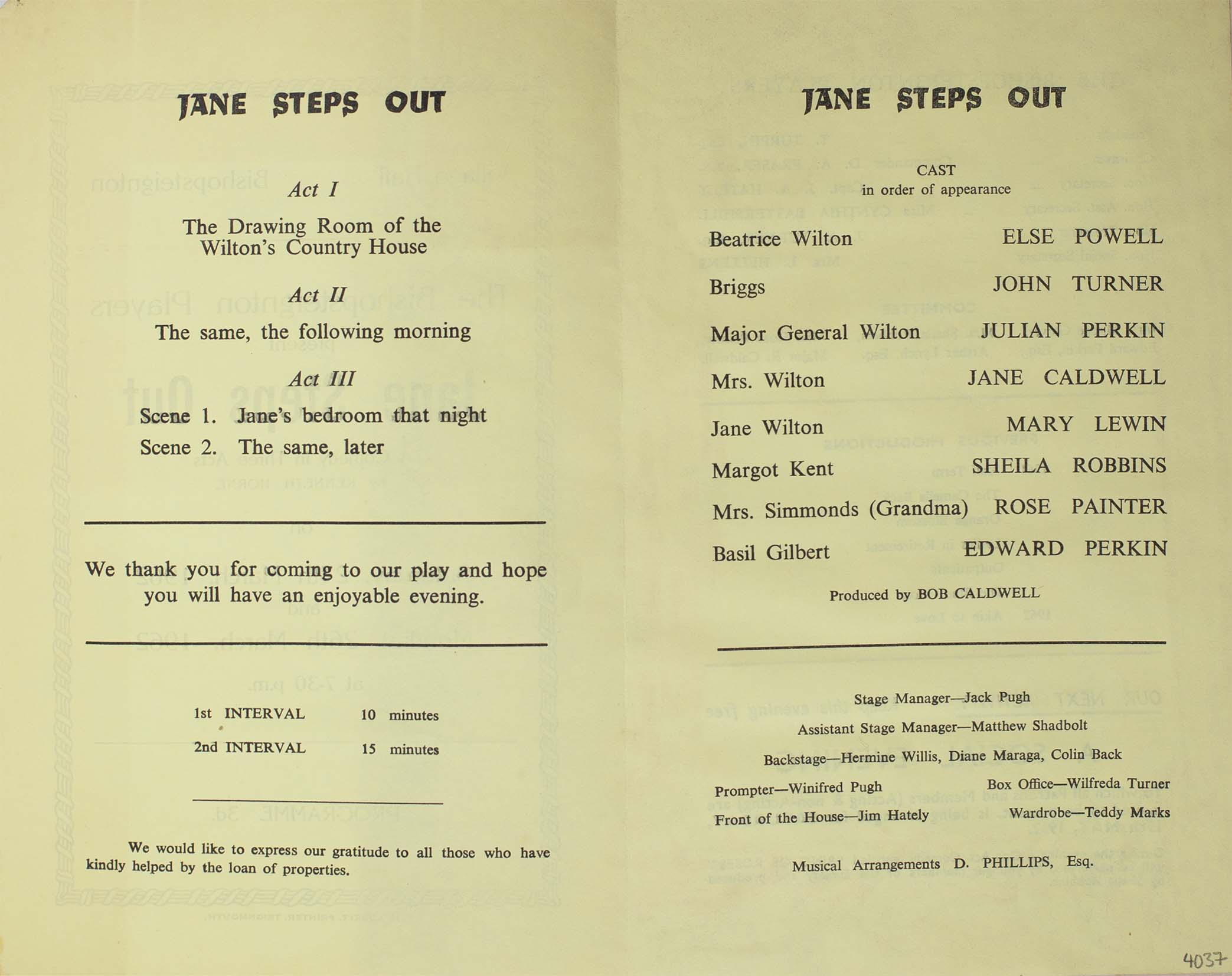 Leaflet to advertise the programme for the play 'Jane Steps Out' presented by the Bishopsteignton Players inside