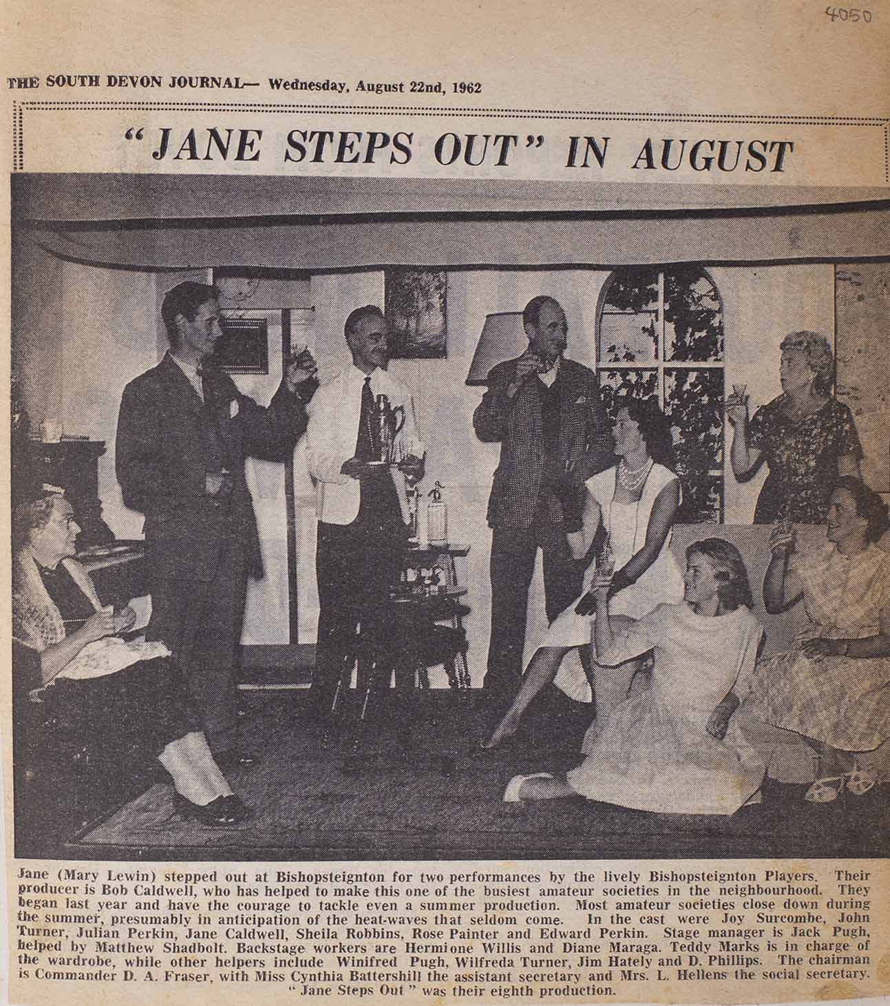 Newspaper clipping including article and picture from The South Devon Journal highlighting the cast members from the play 'Jane Steps Out'