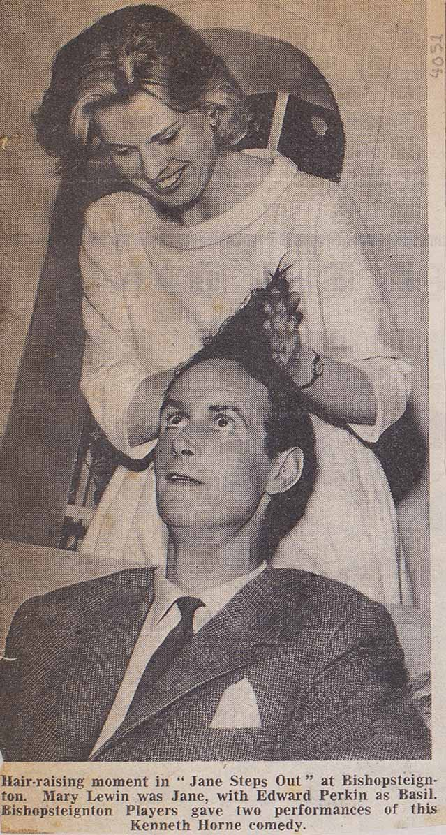 Cutting from a newspaper showing a picture of a Hair-raising Moment in the play 'Jane Steps Out' presented by Bishopsteignton Players