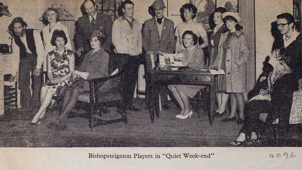 Newspaper picture of the cast in a scene from the play 'Quiet Week-End' presented by Bishopsteignton Players