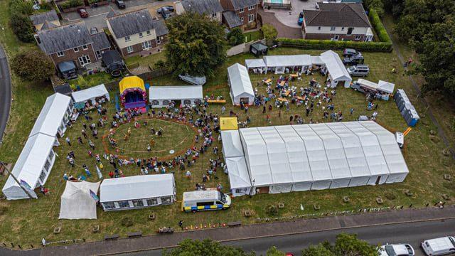 An aerial view of Bishopsteignton Village Festival site September 2021